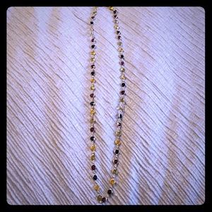 Jewelry - Gold Tone long Multi Gem Necklace